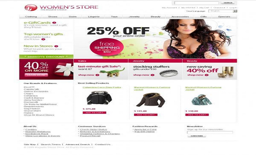 Magento eCommerce Themes Reviews - WomenStore Magento eCommerce Themes
