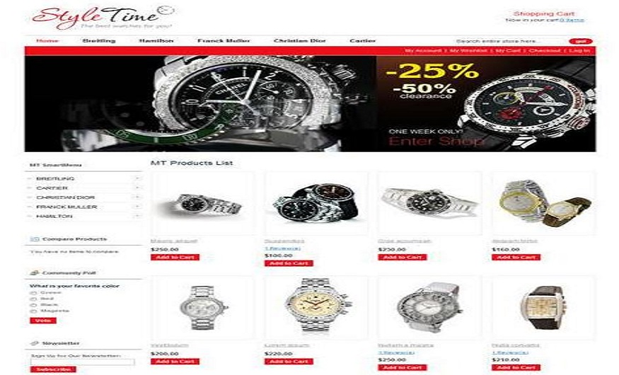 Magento eCommerce Themes Reviews - MT Eody Watch Magento eCommerce Theme