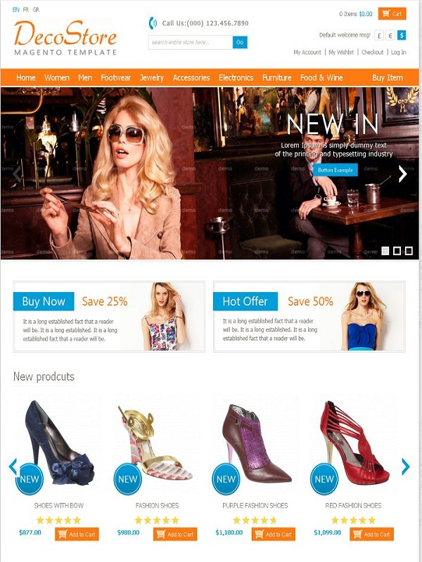 Magento eCommerce Themes Reviews - DecoStore Magento eCommerce Theme