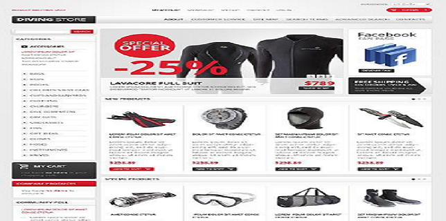 Magento eCommerce Themes Reviews  – White & Grey Diving Magento eCommerce Theme